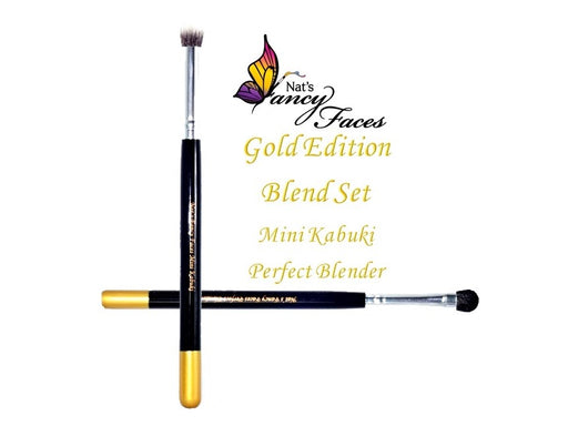 Nat's Fancy Faces | Face Painting Brush -Gold Edition Blend Set with Mini Kabuki and Perfect Blender