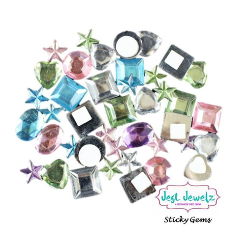 Jest Jewelz - Sticky Gems - Pastel Colors (Peel and Stick -  2 Tablespoons Approx 100 pcs.) - Jest Paint Store