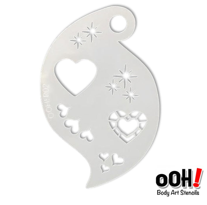 Ooh! Face Painting Stencil | Jewel Heart Storm (R02)
