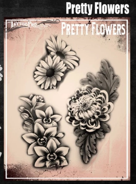 Tattoo Pro | Air Brush Body Painting Stencil - Pretty Flowers