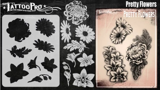 Tattoo Pro | Air Brush Body Painting Stencil - Pretty Flowers - Jest Paint Store