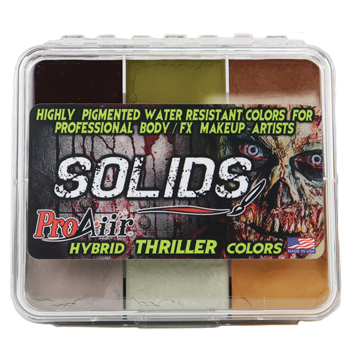 ProAiir Solids  Hybrid Water Resistant Face Paint - Thriller Palette with 1 oz ProLong Activator