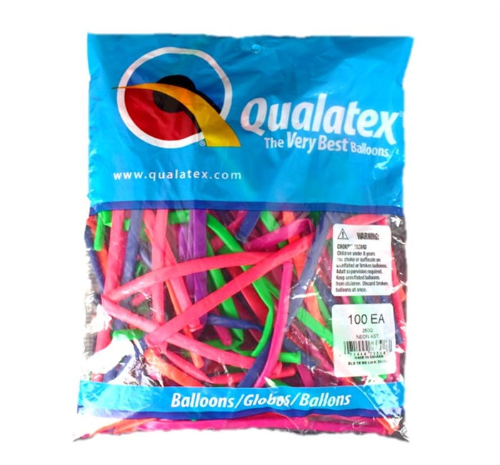 Qualatex Balloons - 260Q Neon Assortment - 100ct - Jest Paint Store