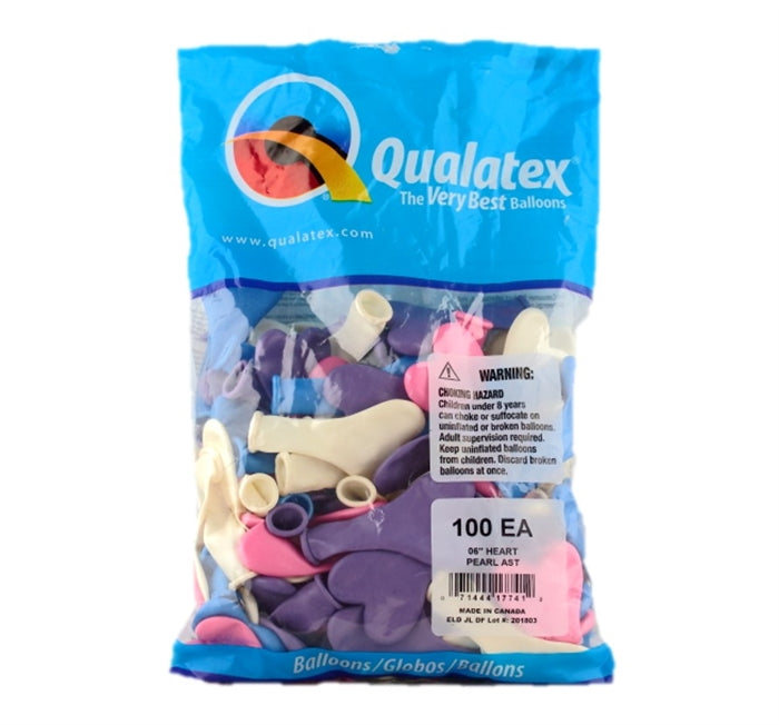 "Qualatex Balloons - 6"" Pearl Heart Assortment - 100ct - Jest Paint Store"