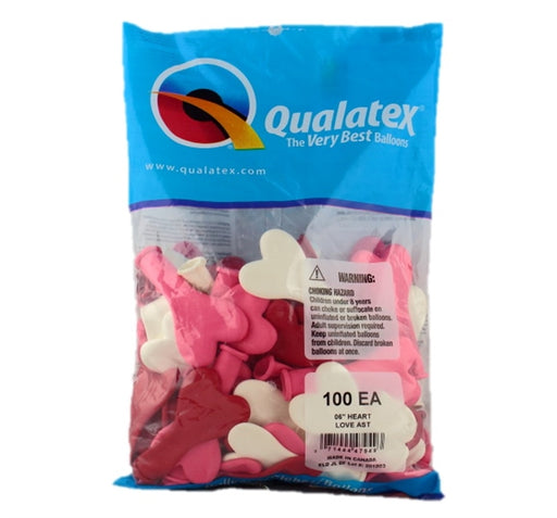 "Qualatex Balloons - 6"" LOVE Heart Assortment - 100ct - Jest Paint Store"