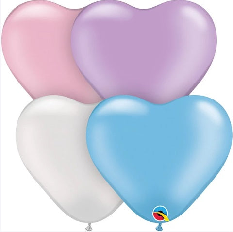"Qualatex Balloons - 6"" Pearl Heart Assortment - 100ct"
