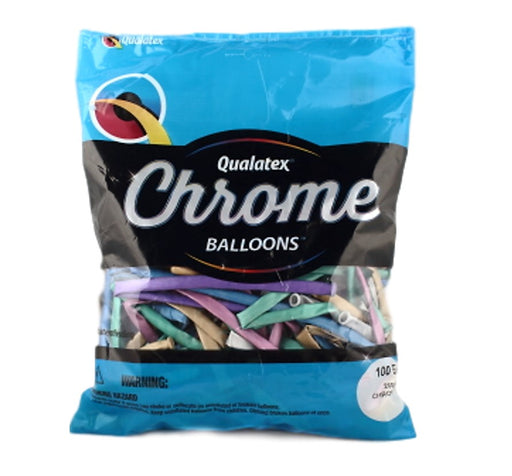 Qualatex Balloons - 260Q Chrome Assortment - 100ct
