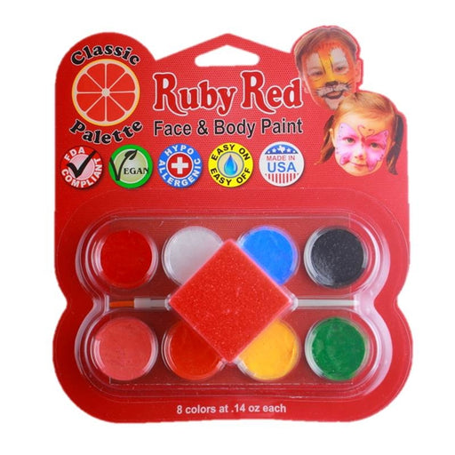Ruby Red Face Paint - Small 8 Color Classic Palette - Jest Paint Store