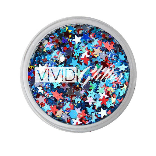 VIVID Glitter | Loose Chunky Hair and Body Glitter | Red White Boom (7.5gr) - Jest Paint Store