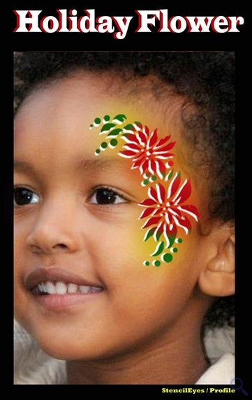 Stencil Eyes / Profiles - Face Painting Stencil - Holiday Flower - Jest Paint Store