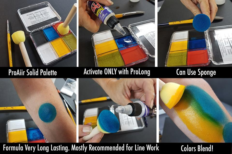 ProAiir Solids | Hybrid Water Resistant Face Paint  - Primary Palette with 1 oz ProLong Activator - Jest Paint Store