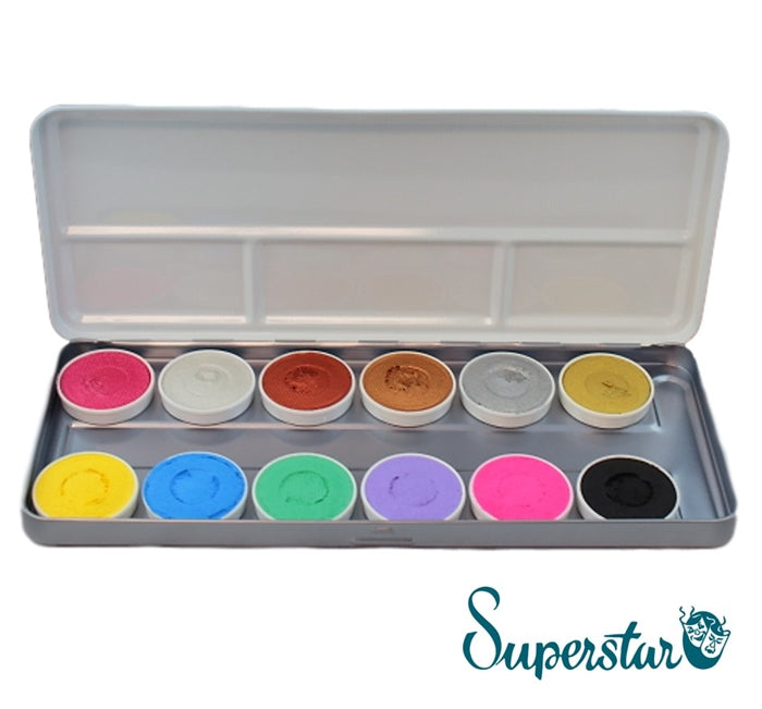 Superstar Face Paint | Aqua Face and Body Painting Palette - 12 colours DUO SHIMMER- AND PASTEL COLOURS
