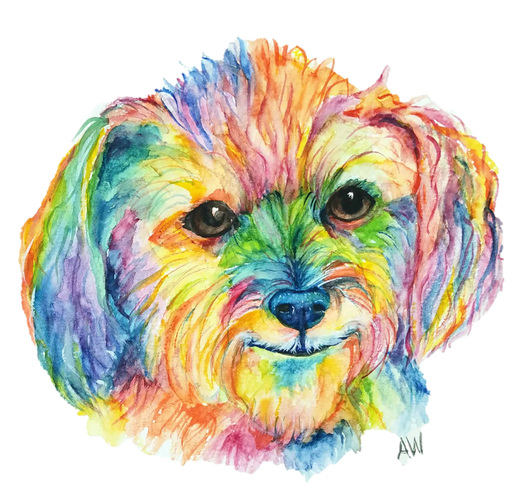 Pet Portraits - Custom Watercolor Art by Anna Wilinski -  High Res Digital File - BUST STYLE