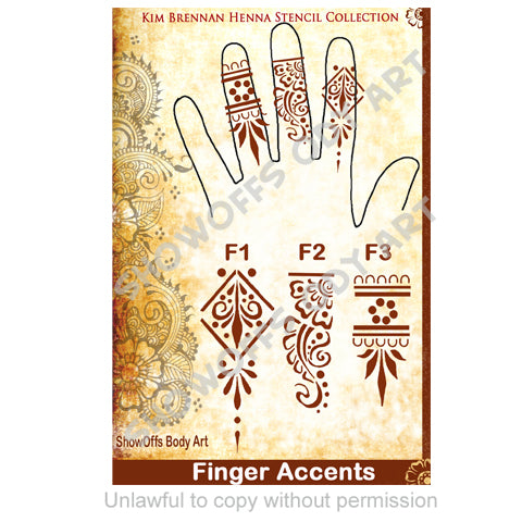 Show Offs Body Art  Kim Brennan Henna Face and Body Painting Stencil - Henna Finger Accents