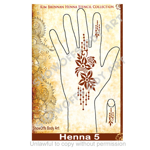 Show Offs Body Art | Kim Brennan Henna Face and Body Painting Stencil - Henna Hand Design #5