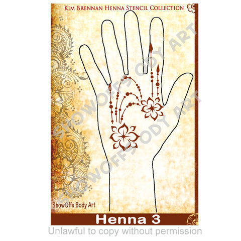 Show Offs Body Art  Kim Brennan Henna Face and Body Painting Stencil - Henna Hand Design #3