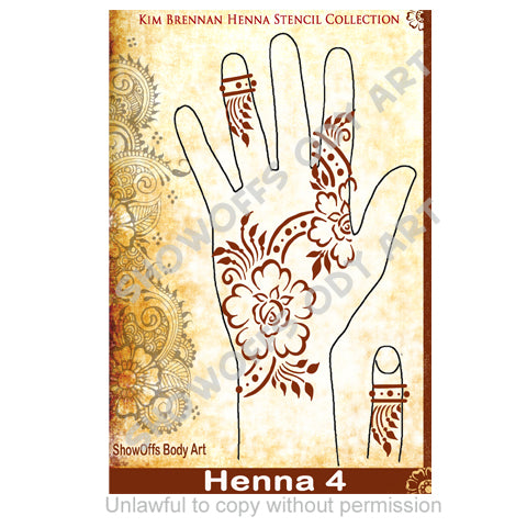 Show Offs Body Art | Kim Brennan Henna Face and Body Painting Stencil - Henna Hand Design #4