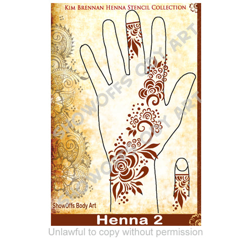 Show Offs Body Art | Kim Brennan Henna Face and Body Painting Stencil - Henna Hand Design #2 - Jest Paint Store