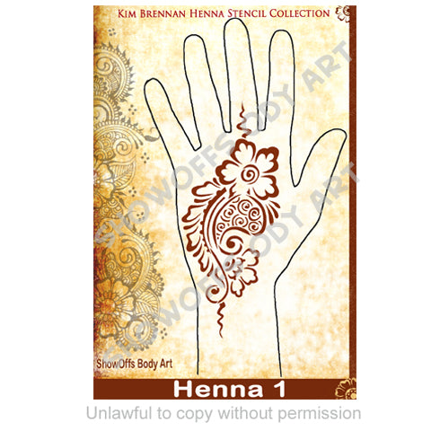 Show Offs Body Art  Kim Brennan Henna Face and Body Painting Stencil - Henna Hand Design #1
