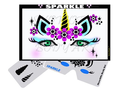 Stencil Eyes - Face Painting Stencil - Sparkle Unicorn - Jest Paint Store