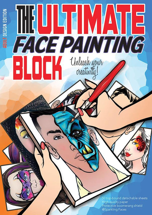 Sparkling Faces | The Ultimate Face Painting Practice Block - Adult Edition (50 paper pages) - Jest Paint Store