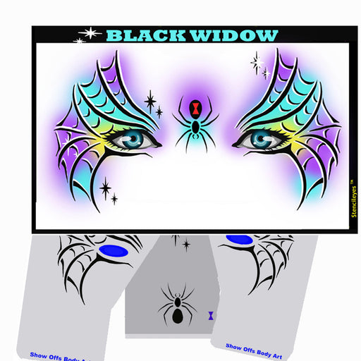 Stencil Eyes - Face Painting Stencil - Black Widow - Jest Paint Store
