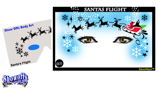 Stencil Eyes - Face Painting Stencil - Santas Flight