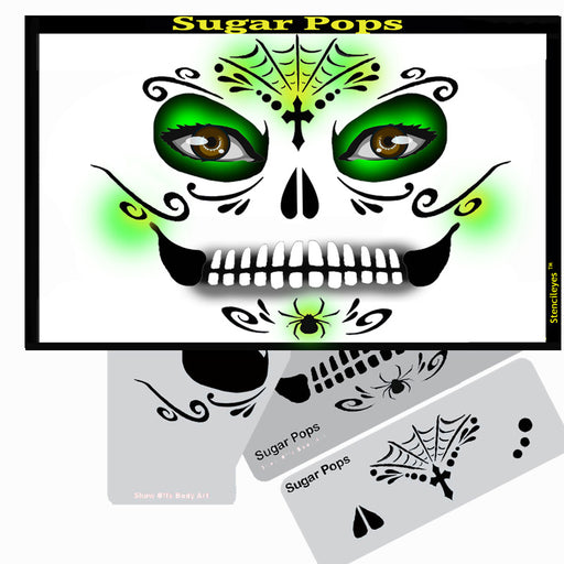 Stencil Eyes - Face Painting Stencil - Sugar Pops - Jest Paint Store