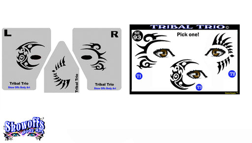Stencil Eyes / Mask - Face Painting Stencil - Tribal Trio - Jest Paint Store