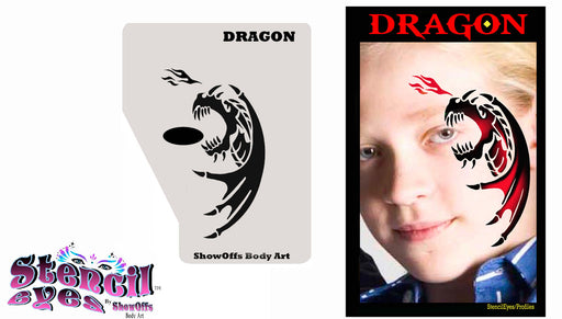 Stencil Eyes / Profiles - Face Painting Stencil - Dragon - Jest Paint Store