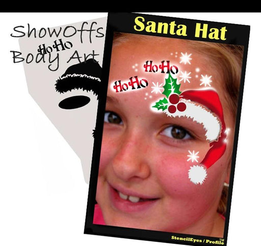 Stencil Eyes / Profiles - Face Painting Stencil - Santa Hat - Jest Paint Store