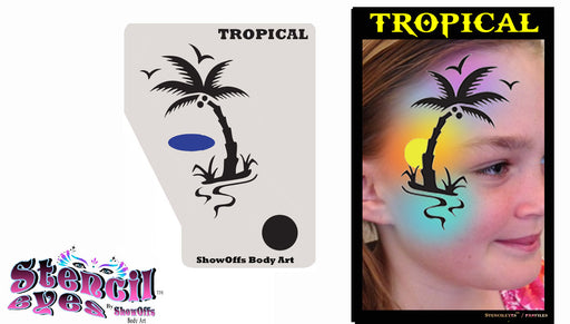 Stencil Eyes / Profiles - Face Painting Stencil - Tropical
