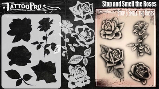 Tattoo Pro | Air Brush Body Painting Stencil - Stop and Smell the Roses