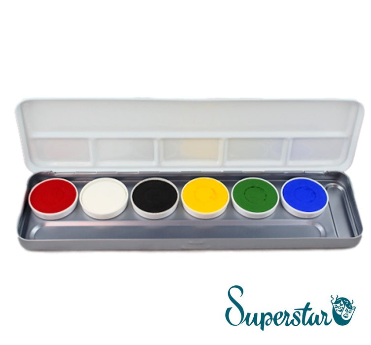 Superstar Face Paint | Aqua Face and Body Painting Palette - 6 BRIGHT Colours - Jest Paint Store