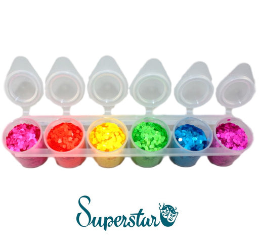 Superstar | Loose Chunky Glitter - FLUORESCENT Six Pack (130ml) - Jest Paint Store