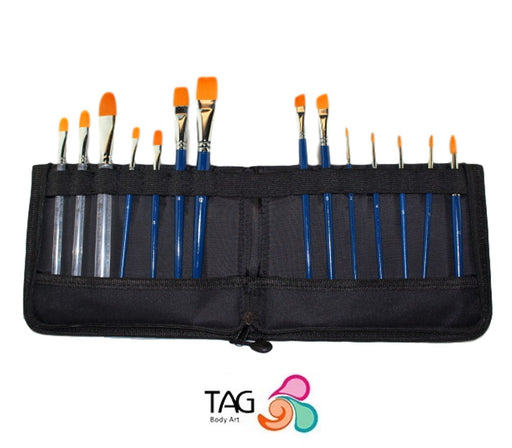TAG | Face Painting Brush Wallet with Set of 14 Brushes - Jest Paint Store