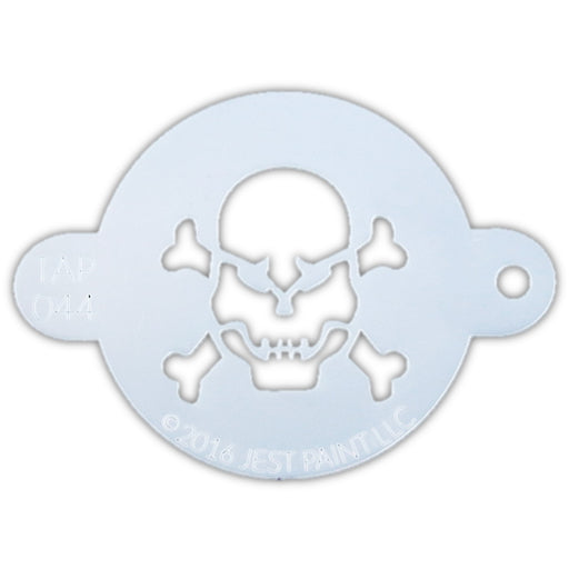 TAP 044 Face Painting Stencil - Skull with Crossbones - Jest Paint Store