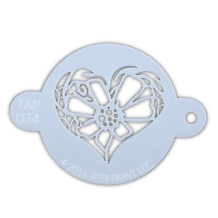 TAP 074 Face Painting Stencil - Flower Heart - Jest Paint Store