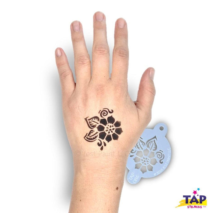 TAP 086 Face Painting Stencil - Henna Full Flower with Leaves - Jest Paint Store