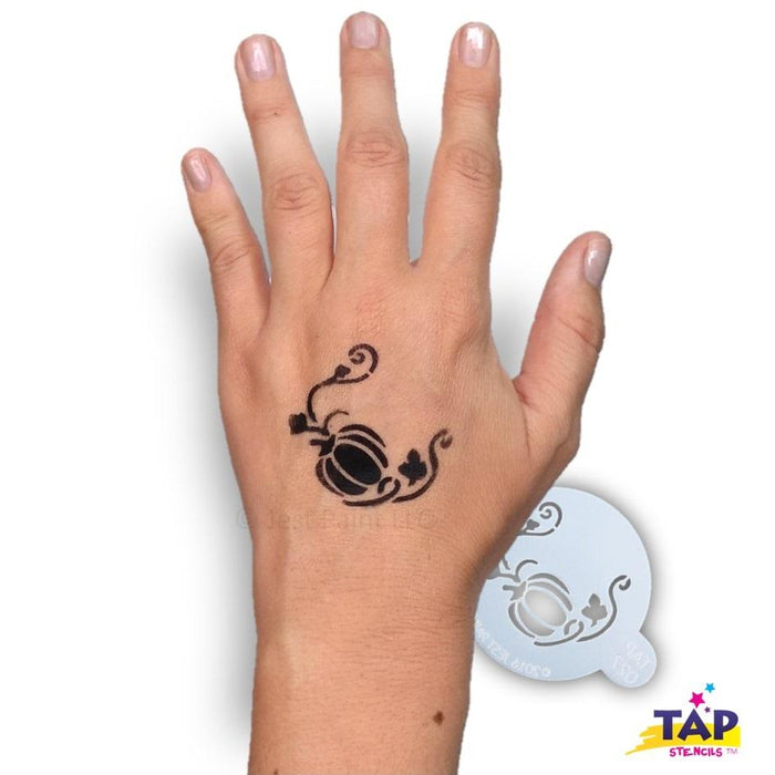 TAP 027 Face Painting Stencil - Pumpkin with Vine - Jest Paint Store