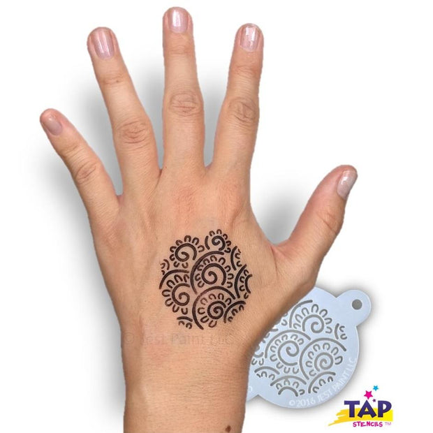 TAP 055 Face Painting Stencil - Henna Floral Swirls 1