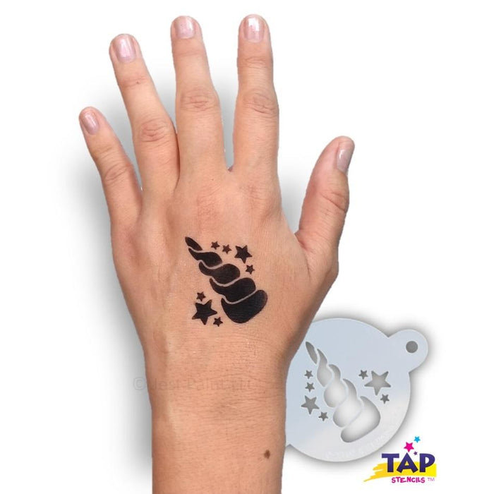 TAP 103 Face Painting Stencil - Unicorn Horn with Stars - Jest Paint Store