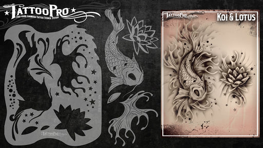 Tattoo Pro 102  - Body Painting Stencil - Koi & Lotus - Jest Paint Store