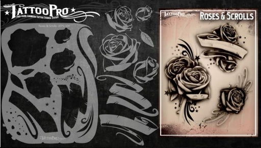 Tattoo Pro 104  - Body Painting Stencil - Roses and Scrolls - Jest Paint Store