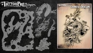 Tattoo Pro 103 - Body Painting Stencil - Chinese Dragon - Jest Paint Store