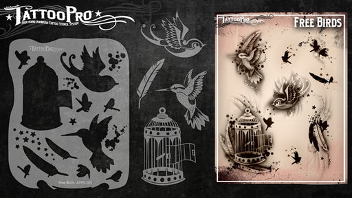 Tattoo Pro 105  - Body Painting Stencil - Free Birds - Jest Paint Store