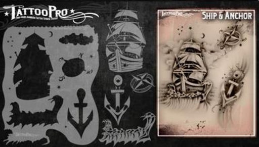 Tattoo Pro 107  - Body Painting Stencil - Ship and Anchor - Jest Paint Store