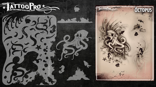 Tattoo Pro 106 - Body Painting Stencil - Octopus - Jest Paint Store