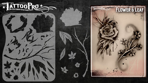 Tattoo Pro 109 - Body Painting Stencil - Flower and Leaf - Jest Paint Store