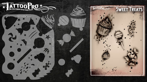 Tattoo Pro 110 - Body Painting Stencil - Sweet Treats - Jest Paint Store